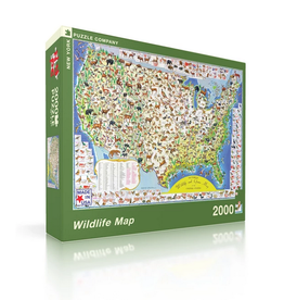 New York Puzzle Company Wildlife Map - 2000 Piece Puzzle