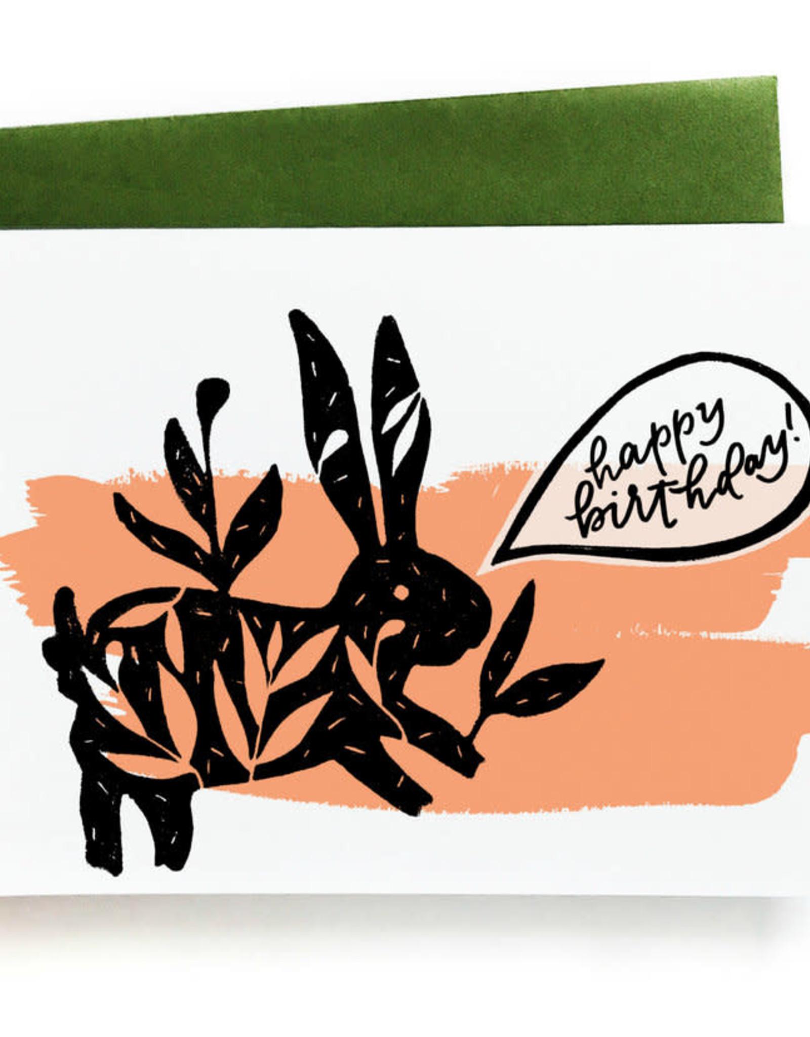 Happy Birthday Bunny (Pink) Greeting Card