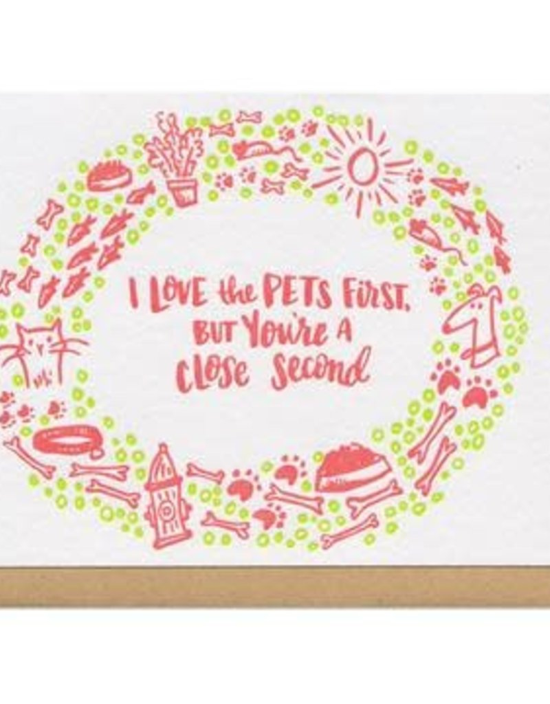 Frog & Toad Press I Love The Pets First Greeting Card