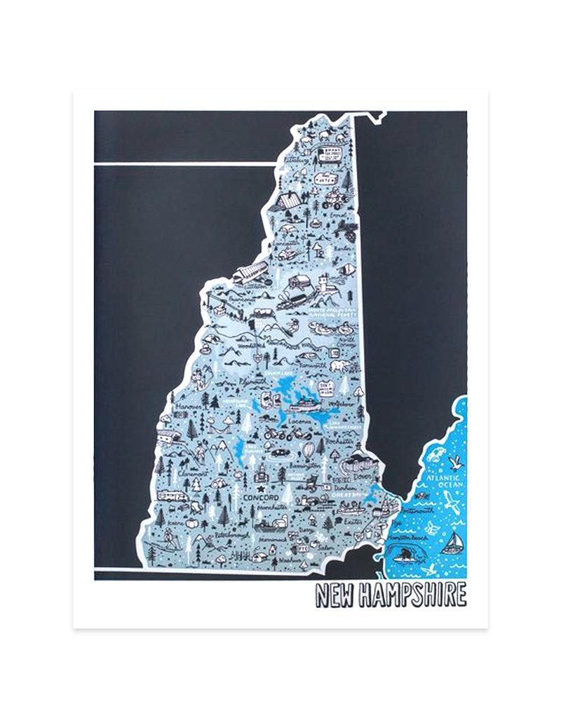 Brainstorm New Hampshire Map Print