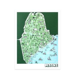 Maine Map Print