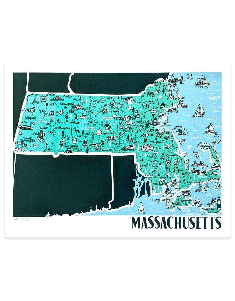 Brainstorm Massachusetts Map Print