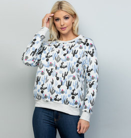 All Over Cactus Print Sweatshirt