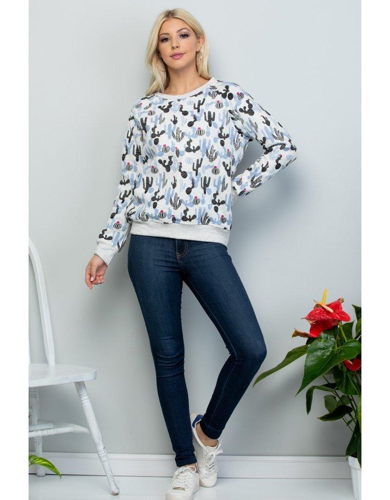 LA Soul All Over Cactus Print Sweatshirt