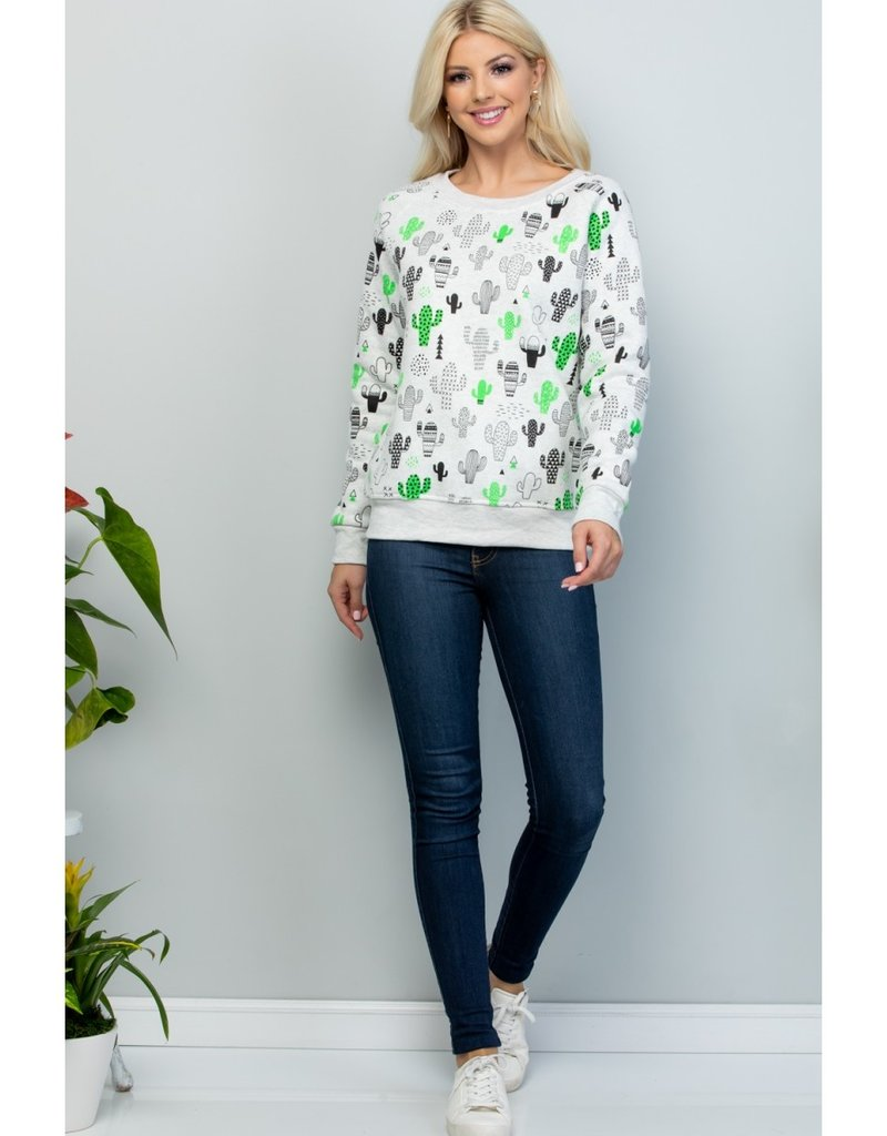 LA Soul Animated Cactus Print Sweatshirt