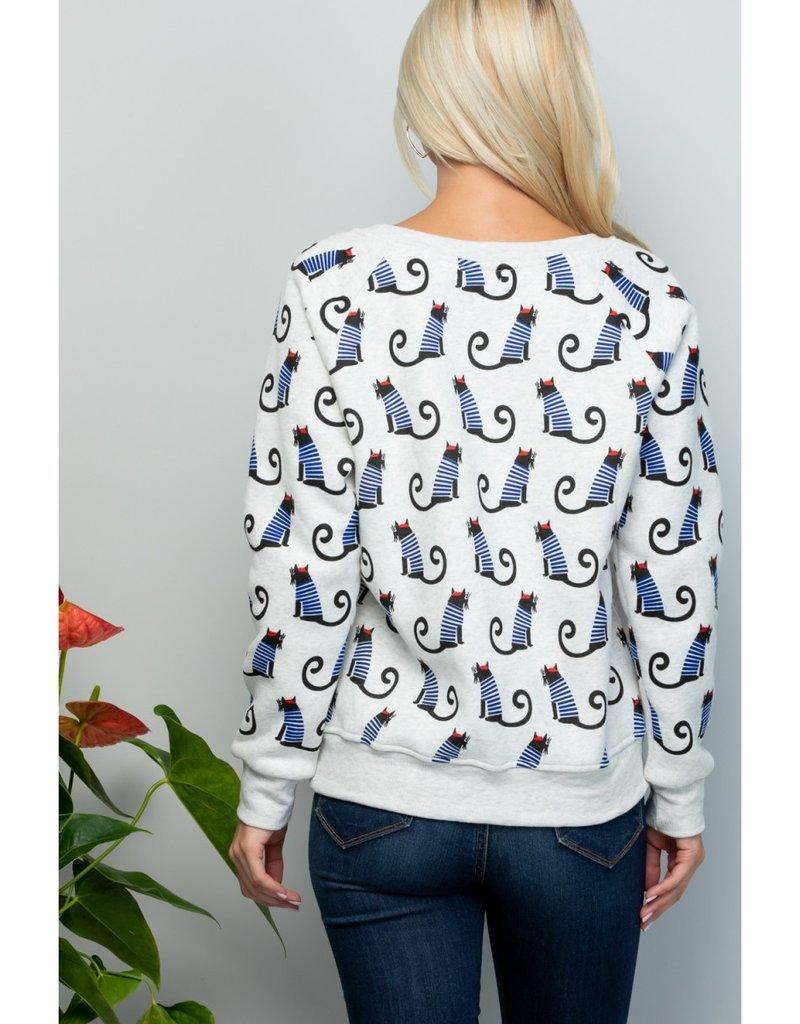 LA Soul Cat with a Hat Print Sweatshirt