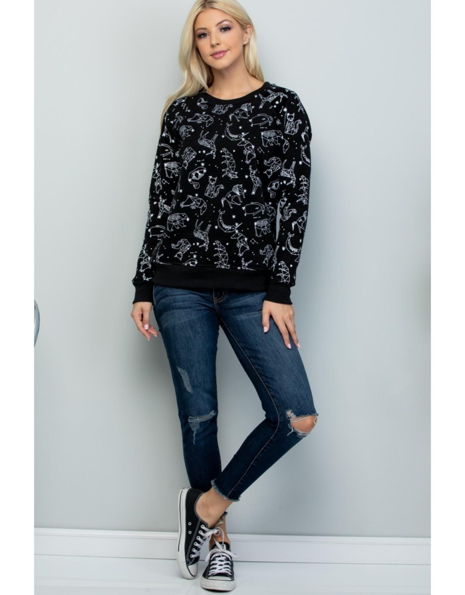 Celestial Animal Print Sweatshirt