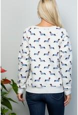 LA Soul Dog with a Striped Sweater Print Sweatshirt