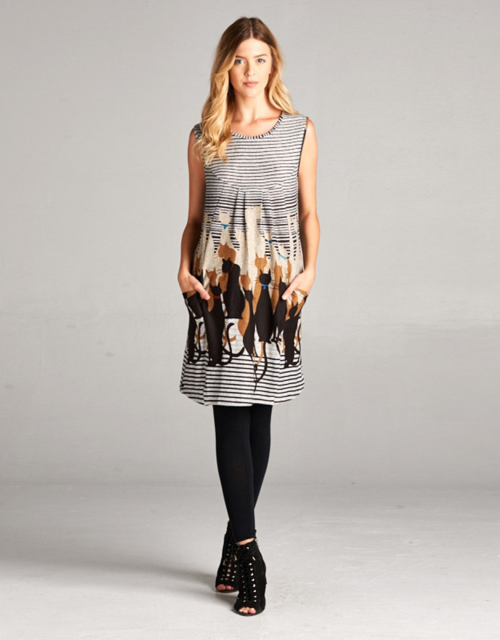 Cats & Stripes Tunic Dress