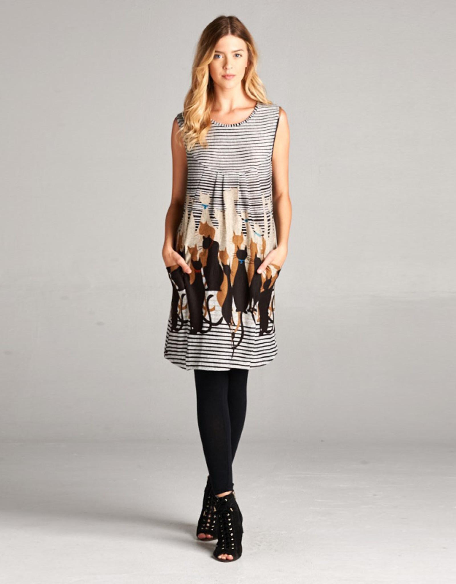 LA Soul Cats & Stripes Tunic Dress