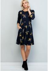 LA Soul Big Bee Print Tunic Dress (Navy)