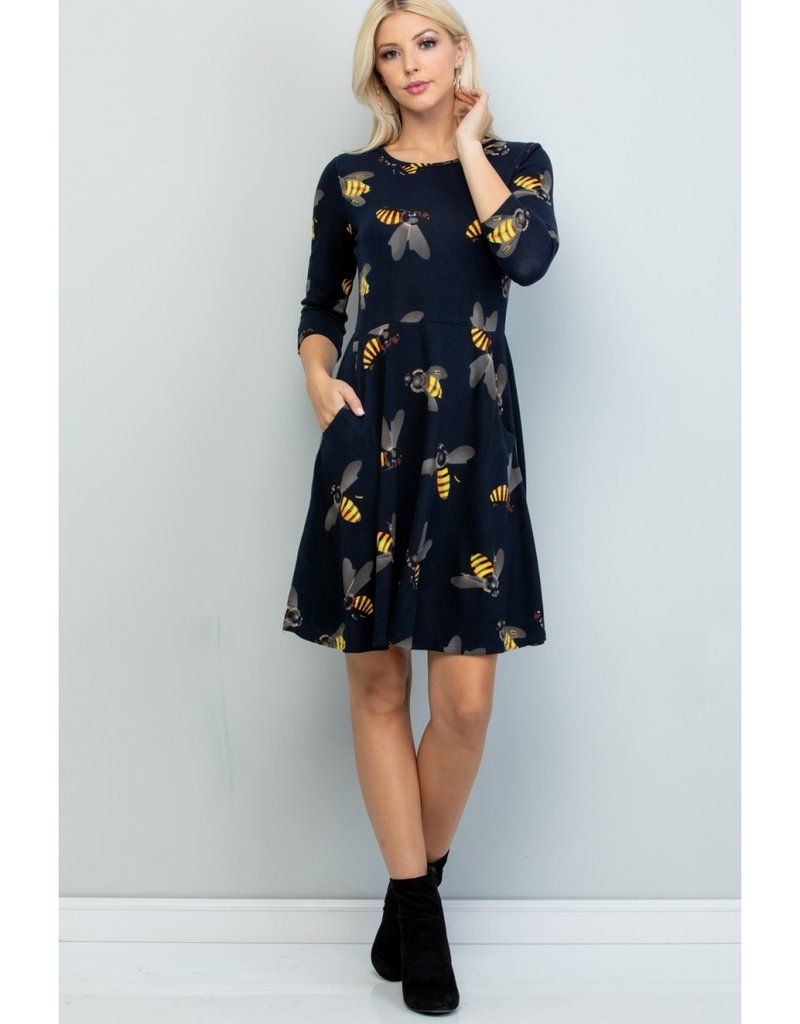 LA Soul Big Bee Print Tunic Dress (Navy)