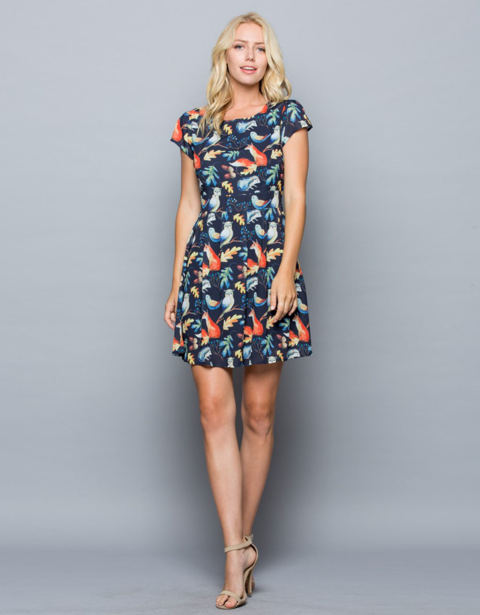 Woodland Forest Animals Cap Sleeve Dress