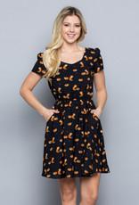 LA Soul Fox Print Dress with Elastic Waist