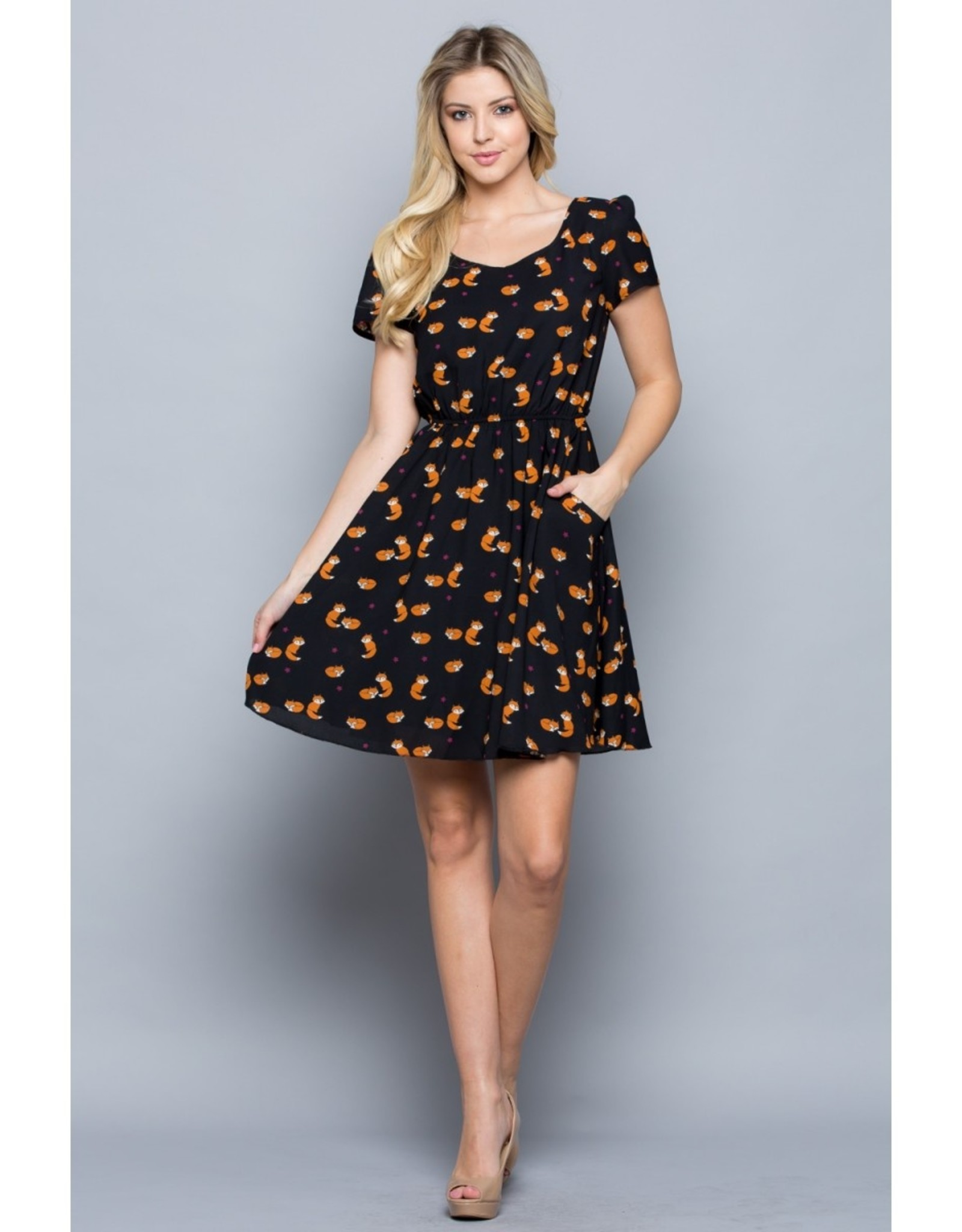Fox Print Dress with Elastic Waist