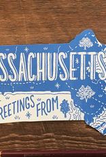 Massachusetts Die Cut Postcard