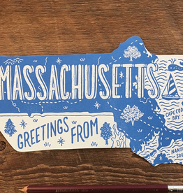Massachusetts Die Cut Postcard
