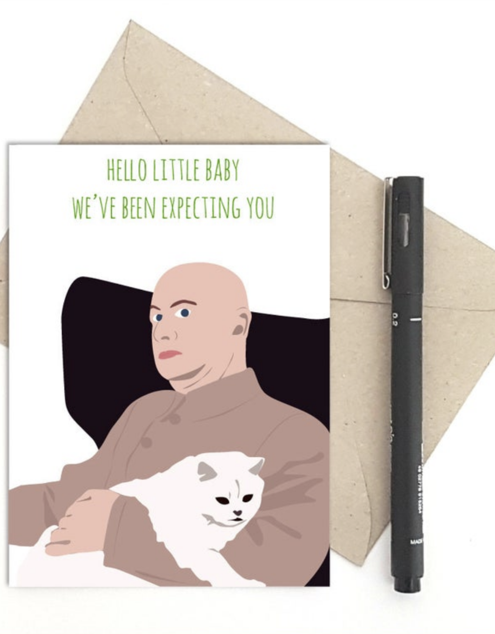Hello Little Baby, We've Been Expecting You (Bond Villian 007) Greeting Card