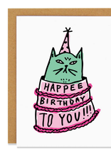 Happee Birthday to You! Cat in a Cake Greeting Card