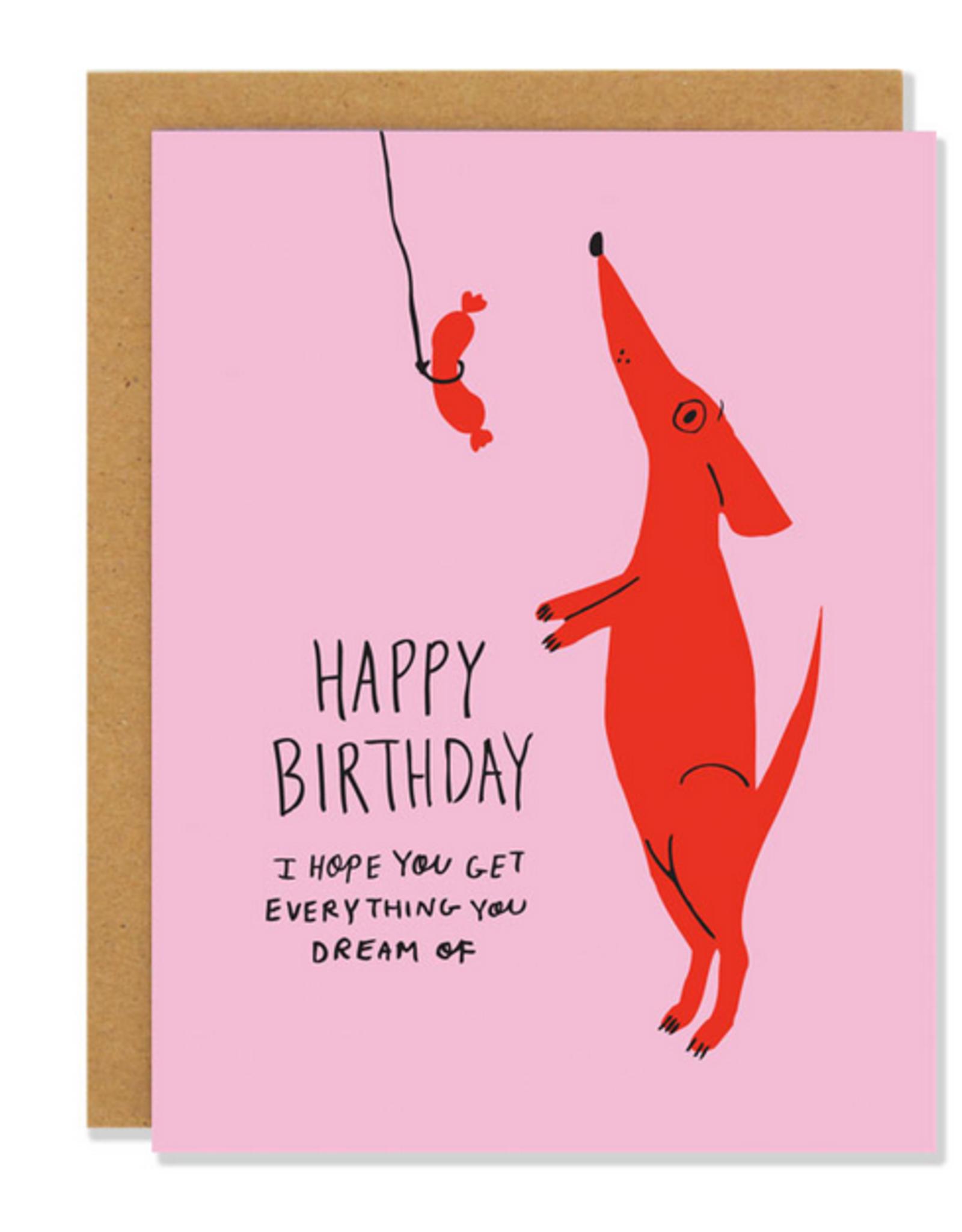Happy Birthday Dog Dreams Greeting Card