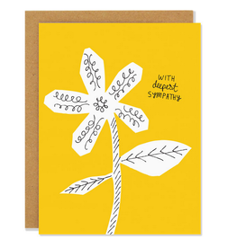 With Deepest Sympathies White Flower Greeting Card