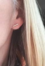 Bar Stud Earrings - Silver