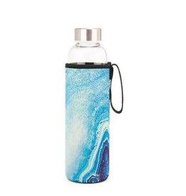 Blue Agate Glass Bottle & Sleeve