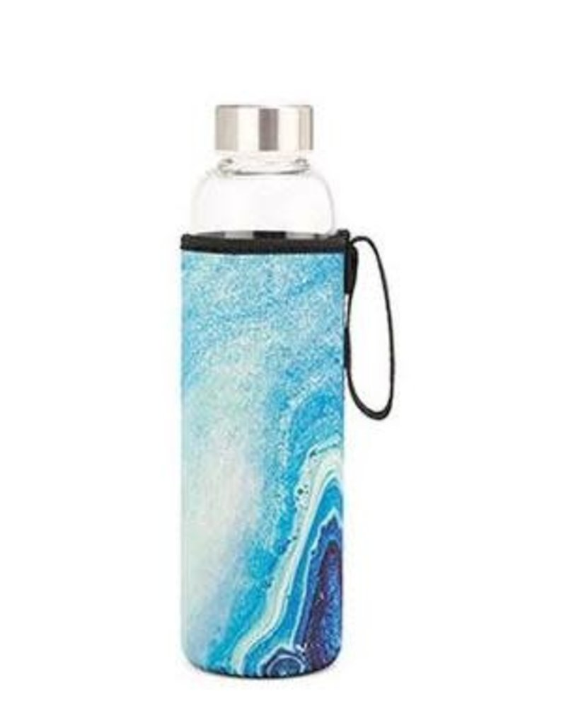 Kikkerland Blue Agate Glass Bottle & Sleeve