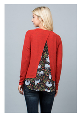 Sloth & Red Sweater Top