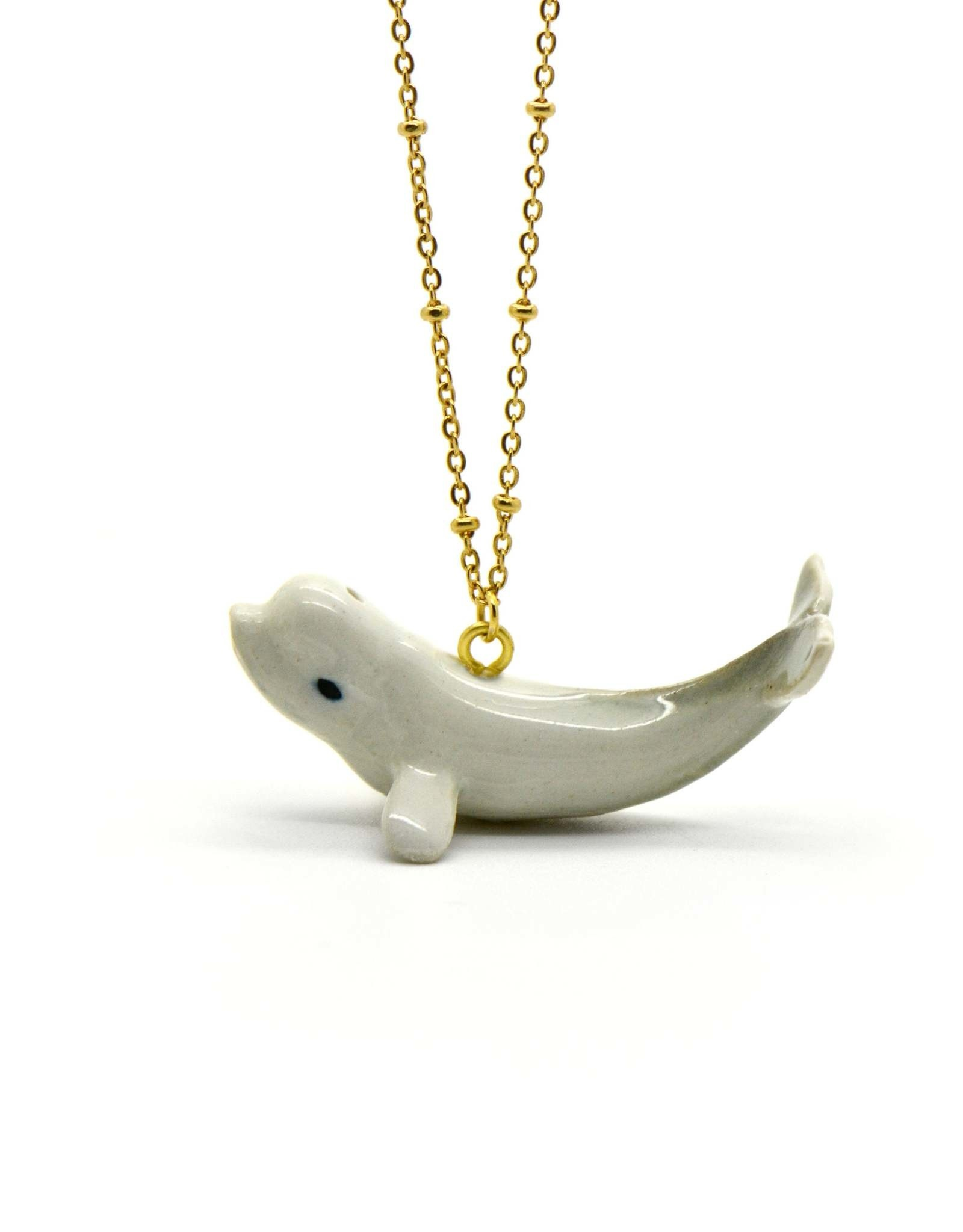 Handpainted Porcelain Beluga Whale Necklace