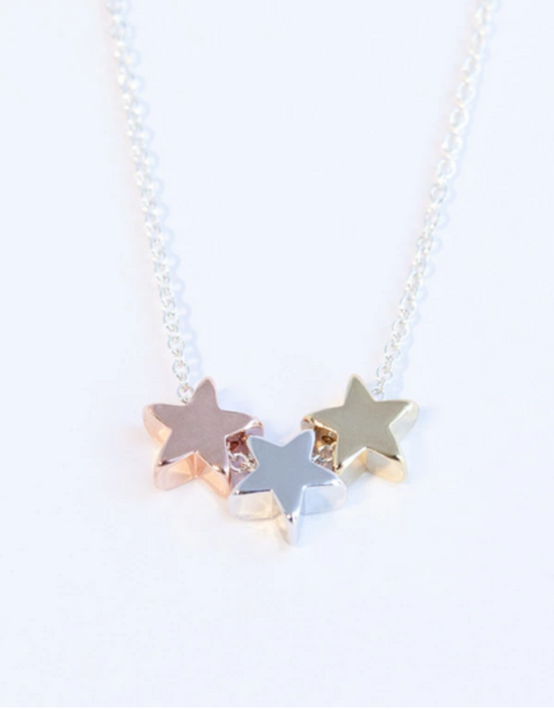 Adorn512 Three Wishes Stars Necklace