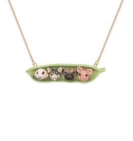 And Mary Brass Plated Porcelain Pets Peapod Necklace