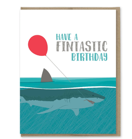 Modern Printed Matter Have a Fintastic Birthday Shark Greeting Card
