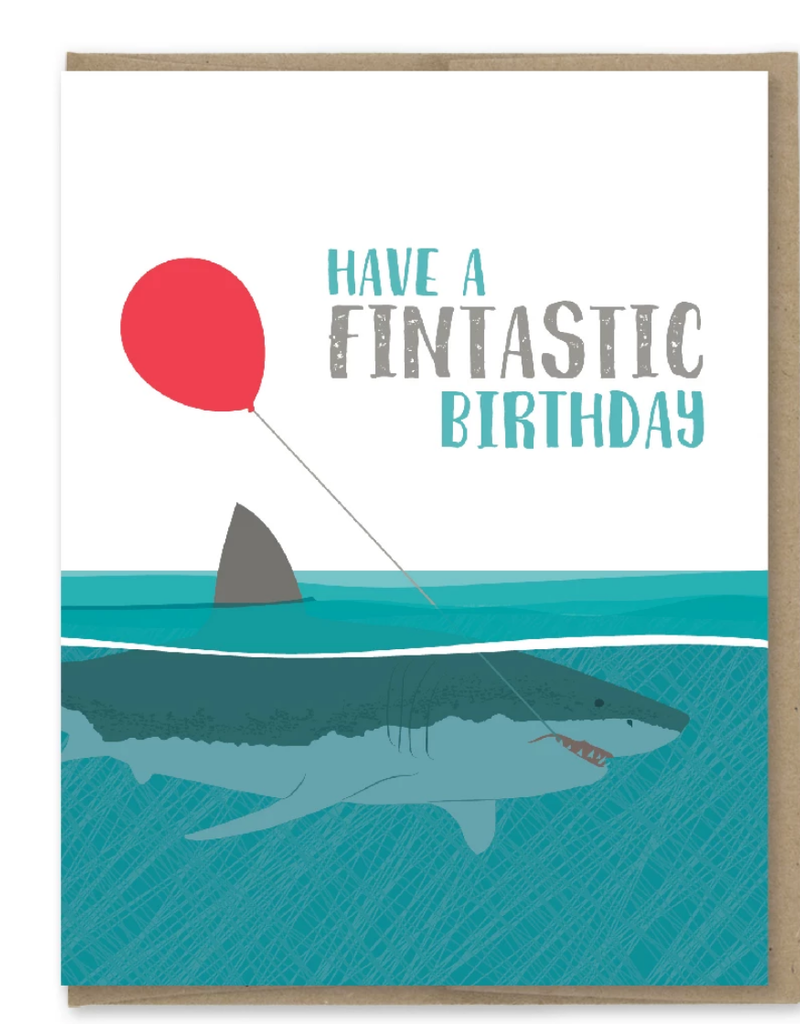 Modern Printed Matter Have a Fintastic Birthday Shark Greeting Card