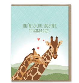 Modern Printed Matter You're So Cute Together. It's Kinda Gross. Giraffes Greeting Card