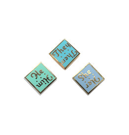 Lady No Brow Pronoun Pins