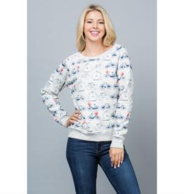 All Over Bicycle Print Sweatshirt
