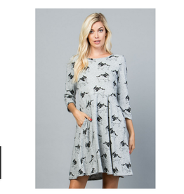 LA Soul Dog Print Sweater Dress