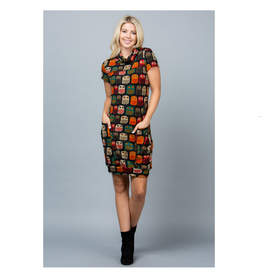 Owl Sweater Tunic Dress with Pockets