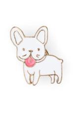 Suck UK White Bulldog Enamel Pin