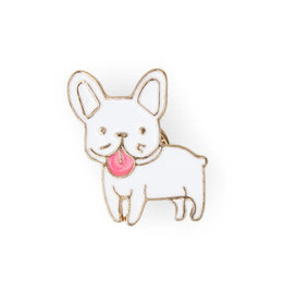 Suck UK White Bulldog Enamel Pin