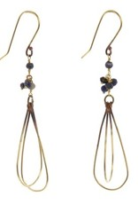 Brass Bead Dangle Earrings - Lapis