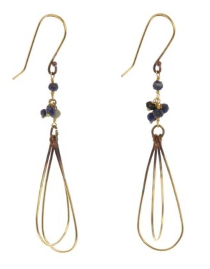 HomArt Brass Bead Dangle Earrings - Lapis