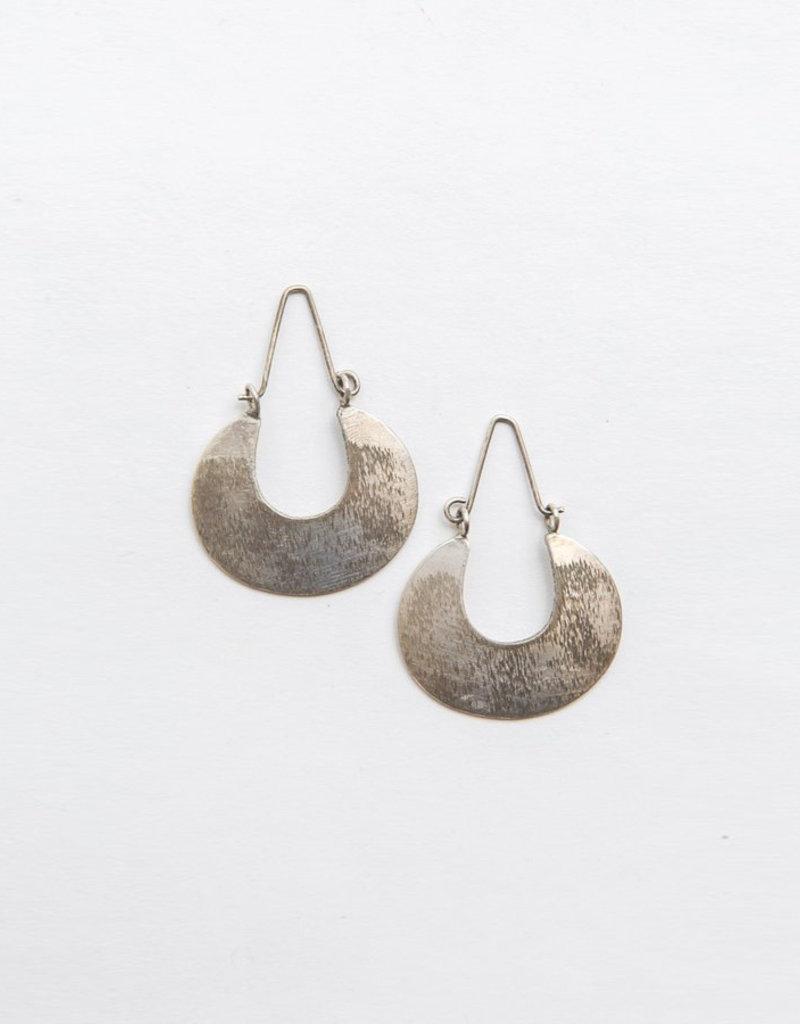 Fair Anita Brushed Metal Hoops (Silver)