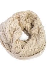 Cable Knit Infinity Scarf (Cream)