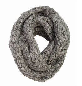 Cable Knit Infinity Scarf (Grey)