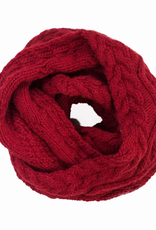Padma Knits Cable Knit Infinity Scarf (Red)