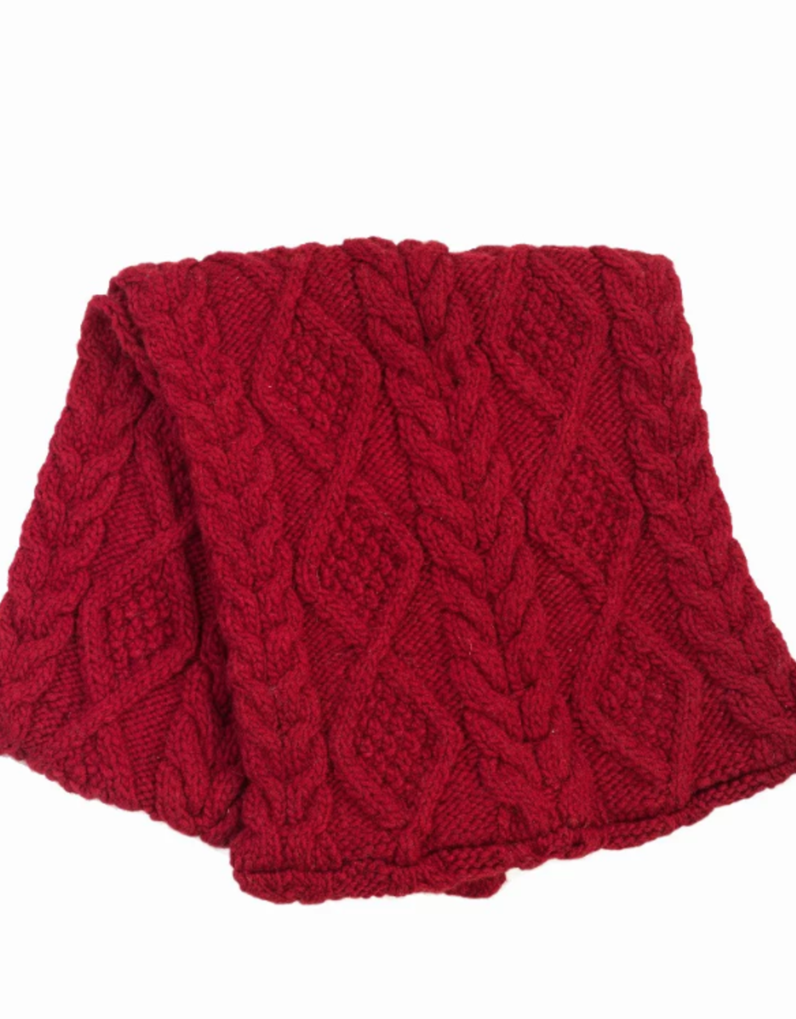 Cable Knit Infinity Scarf (Red)