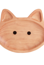 Time Concept Wood Kids Plate - Cat