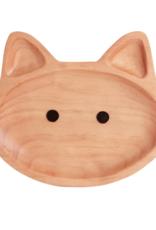 Wood Kids Plate - Cat